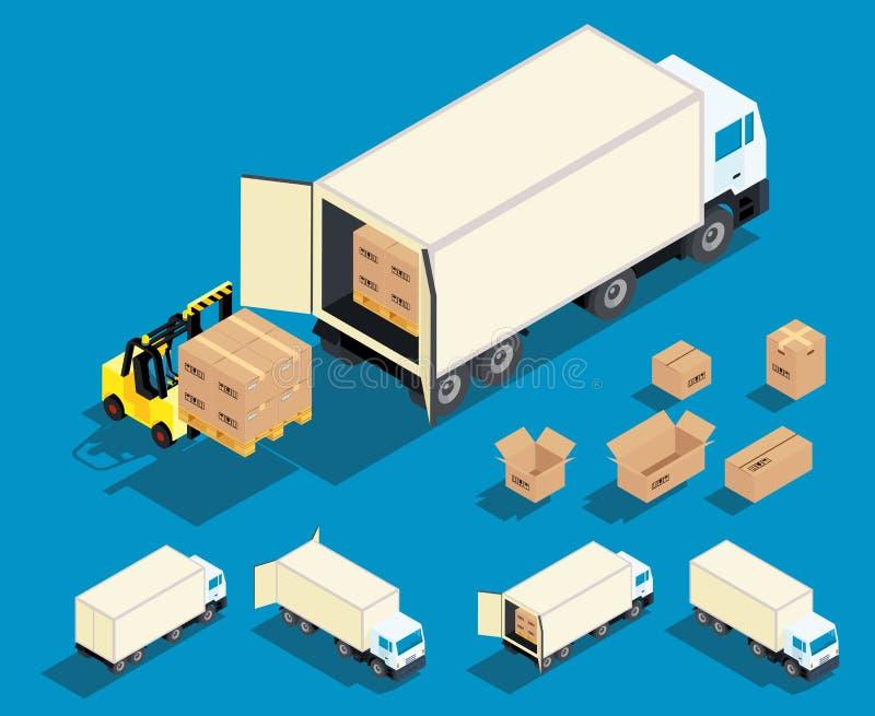 Carga da carga no vetor do caminhão isométrico ilustração stock