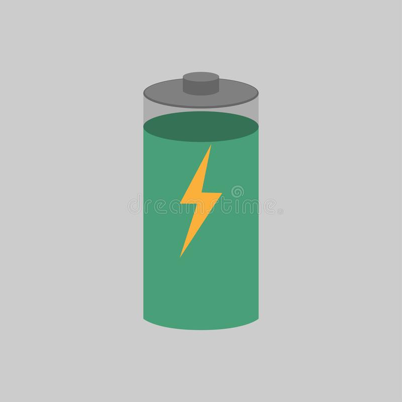 Carga de la batería con su nivel visto encendido ilustración del vector