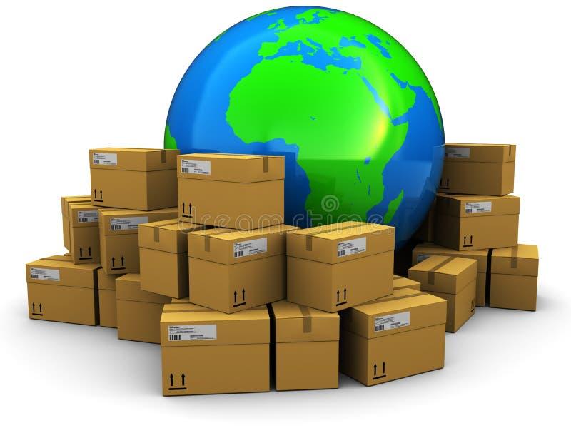 Carga e transporte do mundo ilustração do vetor