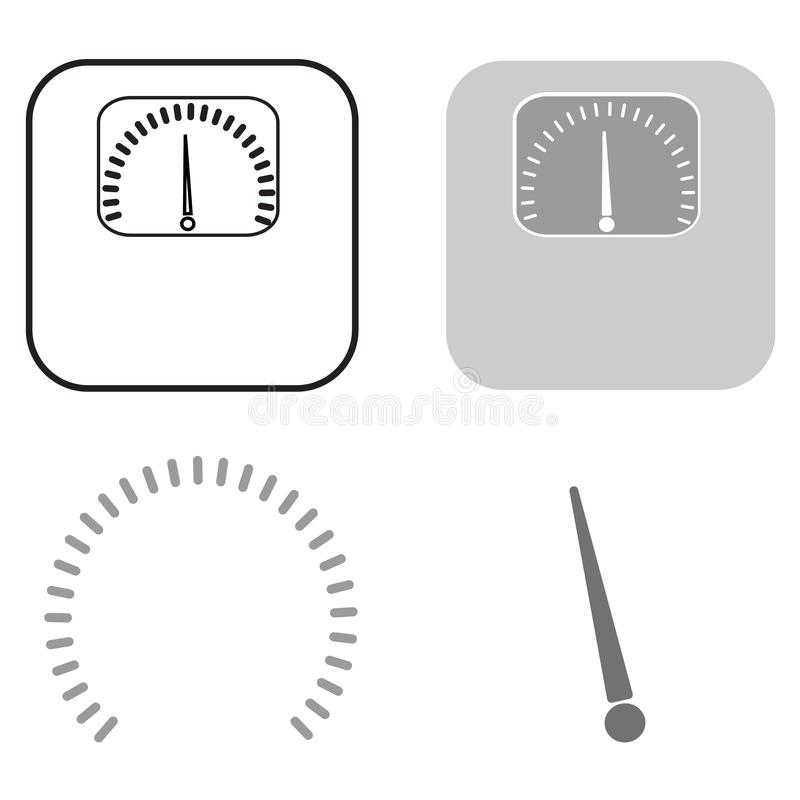 Carga el icono Un sistema de varios elementos de flechas y de escalas stock de ilustración