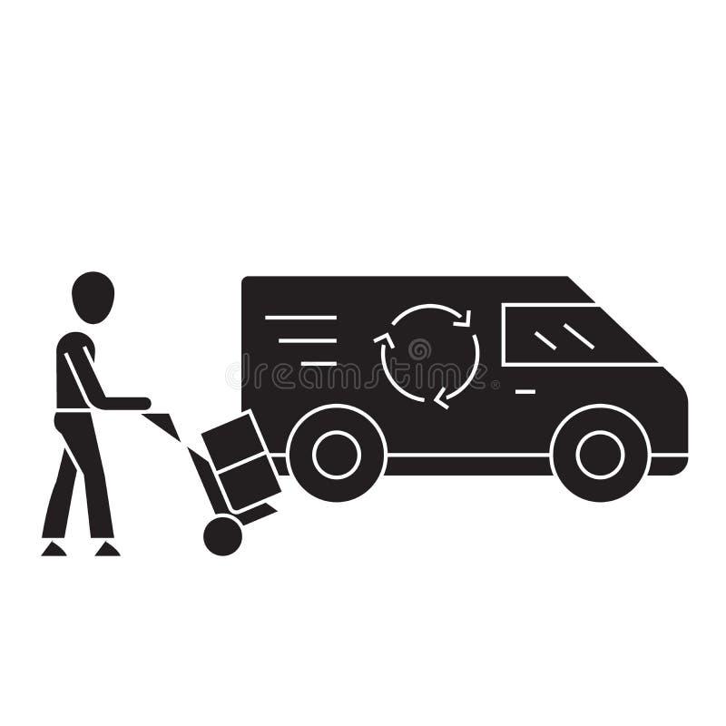 Carga expresa que carga el icono negro del concepto del vector Carga expresa que carga el ejemplo plano, muestra libre illustration