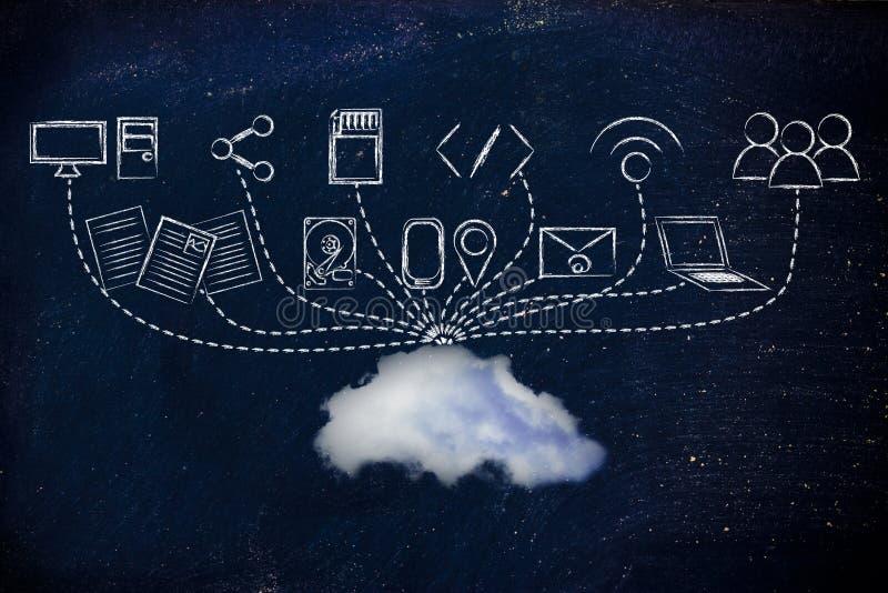 Carga por teletratamiento y transferencia directa del fichero a una nube stock de ilustración