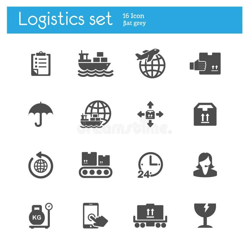 A carga, transporte, ícones cinzentos lisos da logística ajustou-se de 16 ilustração royalty free