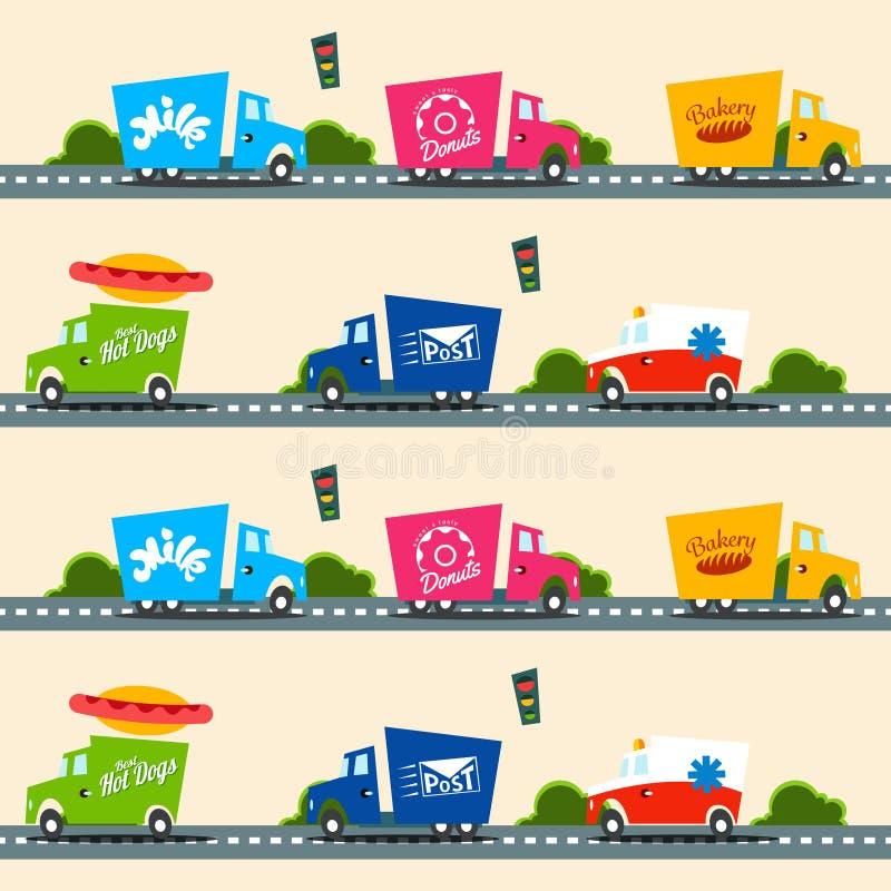 A carga urbana transporta o teste padrão sem emenda do vetor no estilo simples das crianças ilustração do vetor