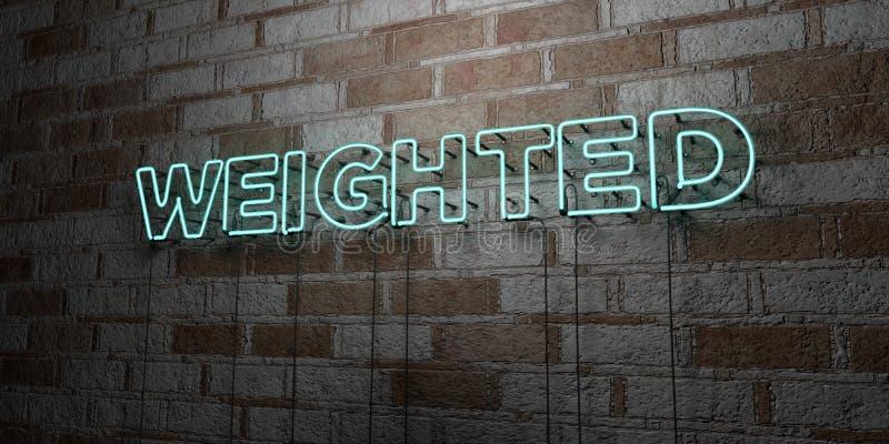 CARGADO - Señal de neón que brilla intensamente en la pared de la cantería - 3D rindió el ejemplo común libre de los derechos ilustración del vector