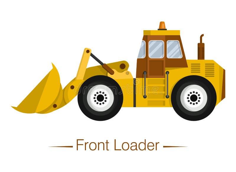 Cargador delantero de rueda moderno amarillo Equipo especial para vertederos y obras de construcción, carga y descarga libre illustration