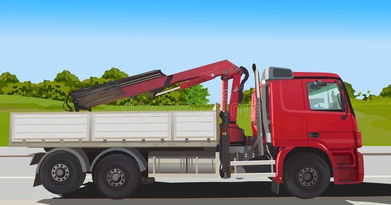 Cargador rojo del camión stock de ilustración