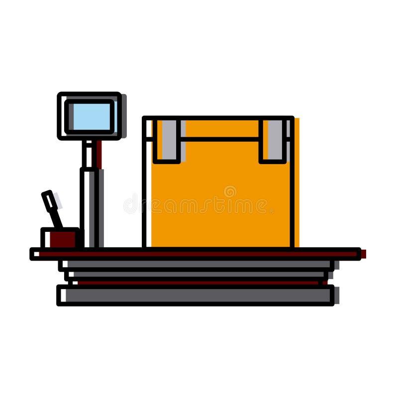 Cargaison d'équipement de boîte de la livraison d'échelle de poids illustration stock