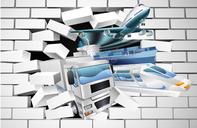 Cargaison de logistique de transport cassant le mur illustration libre de droits