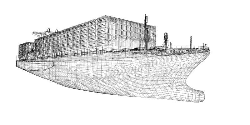 Cargaison de navire porte-conteneurs illustration stock