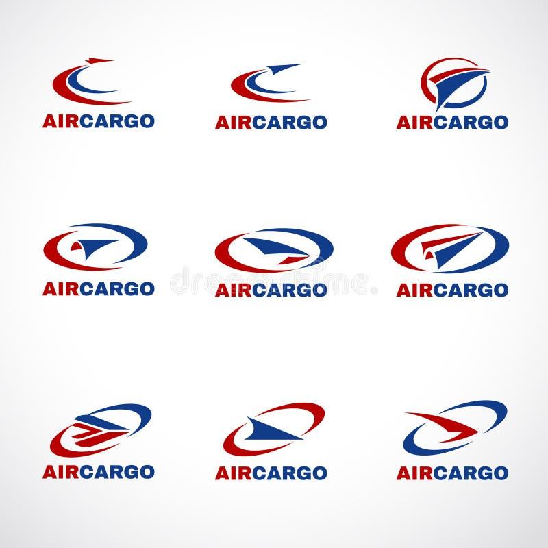 Cargaison de transport d'avion d'air ou vecteur d'affaires de logo d'expédition illustration de vecteur