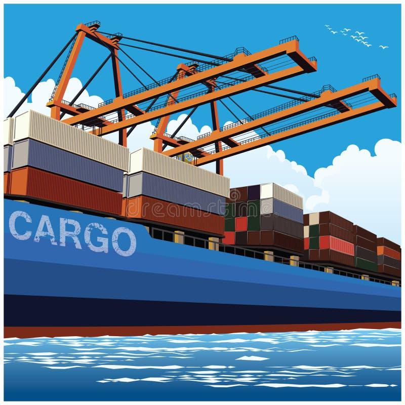 Cargamento de envases por las grúas grandes del puerto ilustración del vector
