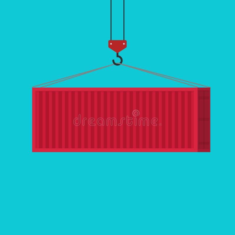 Cargamento rojo grande del contenedor vía el ejemplo del vector de la grúa, idea del clipart aislado, plano del equipo de la carg stock de ilustración