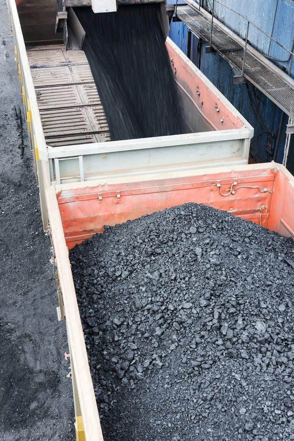 Cargces del ferrocarril llenados del carbón negro fotografía de archivo libre de regalías