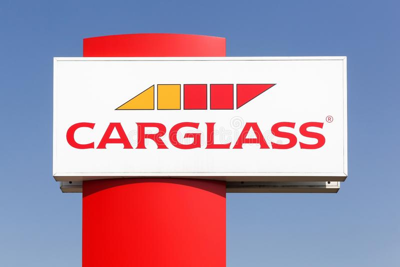 Carglass logo on a panel. Kamen, Germany - July 22, 2018: Carglass logo on a panel. Carglass is a vehicle glass repair and replacement group operating worldwide royalty free stock images