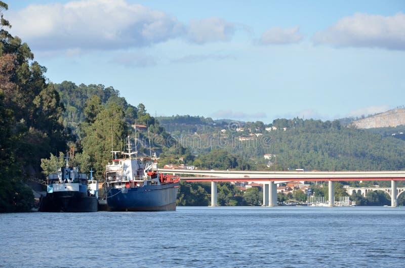 Cargo boats in river Douro stock photo