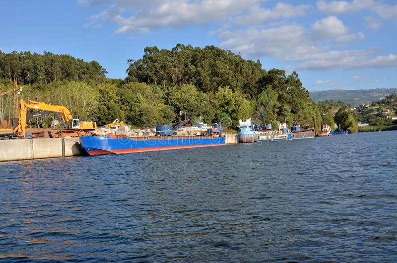 Cargo boats in river Douro royalty free stock images