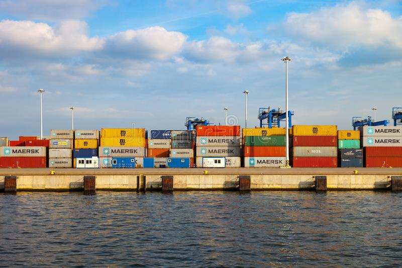Cargo boxes, containers in the sea port stock images