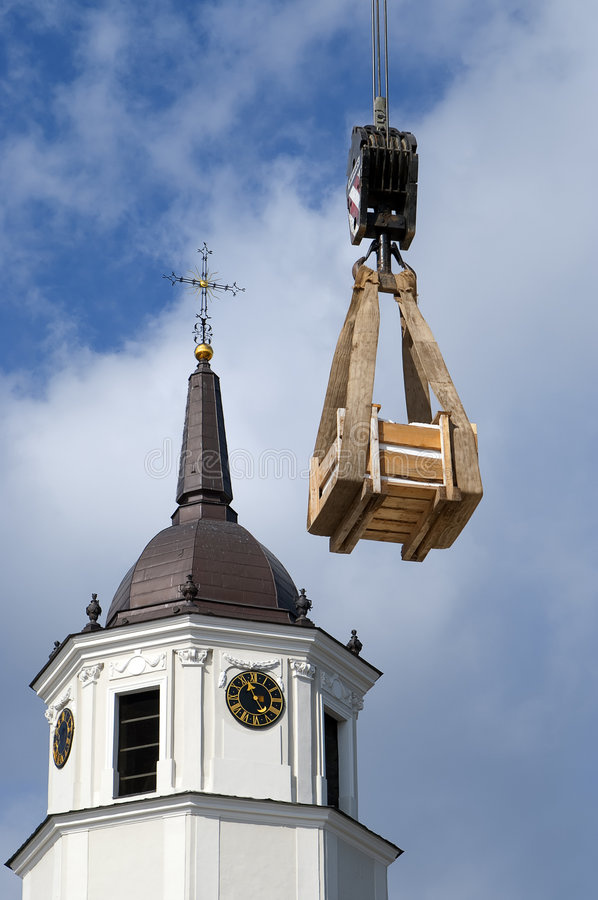 Download Cargo Container Against Of The Cathedral Stock Photo - Image: 7619136