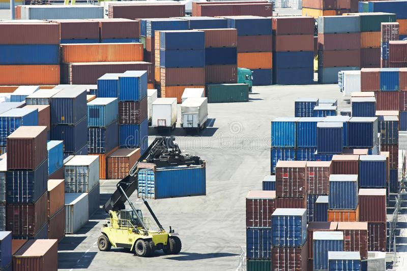 Cargo container boxes in dock terminal stock image