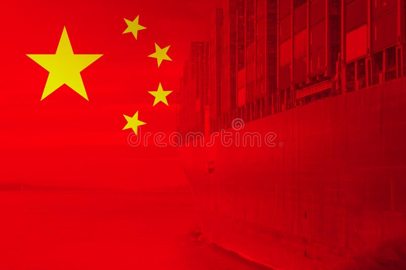 Cargo container china export import. Shipping and flag royalty free stock image