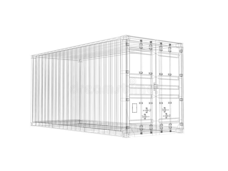 Cargo container digital wireframe view isolated on white for Structure container maritime