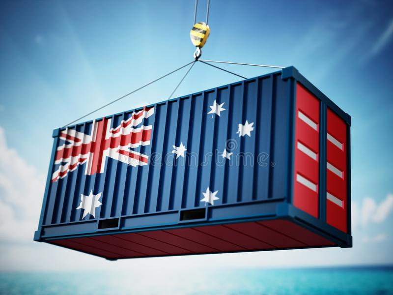 Cargo container with flag of Australia against blue sky. 3D illustration royalty free illustration