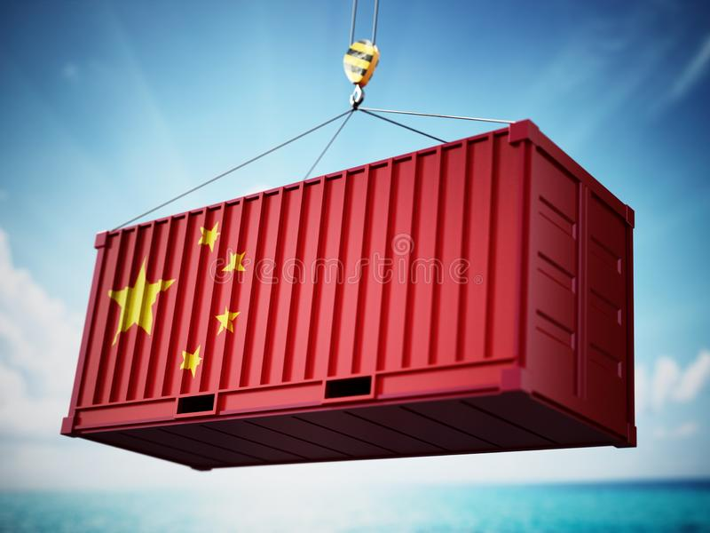 Cargo container with flag of China against blue sky. 3D illustration vector illustration