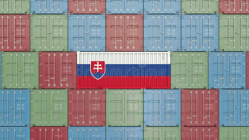 Cargo container with flag of Slovakia. Slovak goods related conceptual 3D rendering royalty free illustration