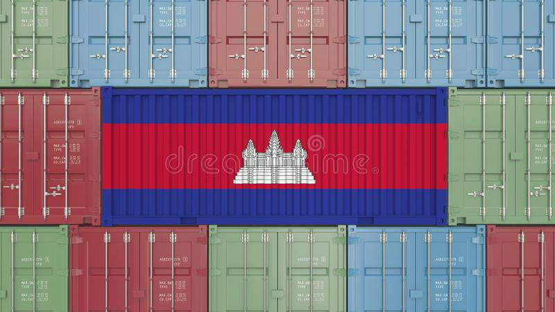 Container with flag of Cambodia. Cambodian goods related conceptual 3D rendering stock illustration