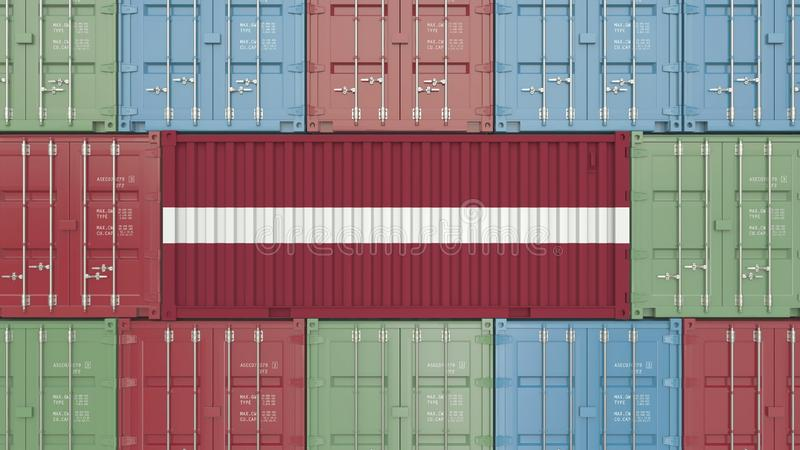 Container with flag of Latvia. Latvian goods related conceptual 3D rendering stock illustration