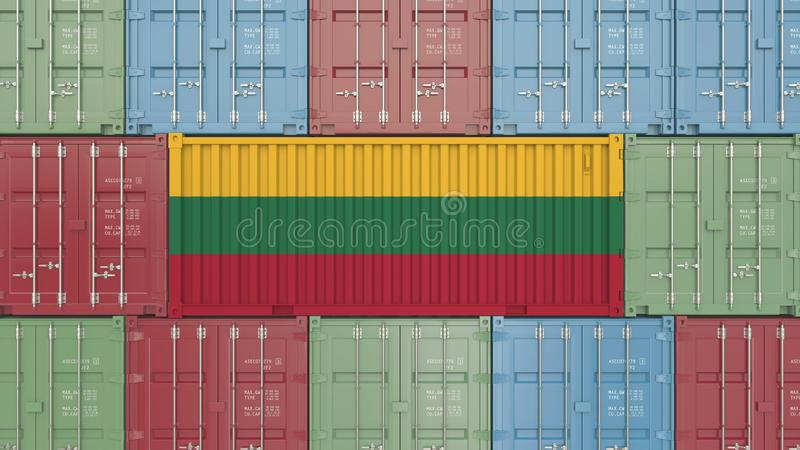 Container with flag of Lithuania. Lithuanian goods related conceptual 3D rendering stock illustration