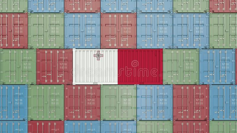 Container with flag of Malta. Maltese goods related conceptual 3D rendering royalty free illustration