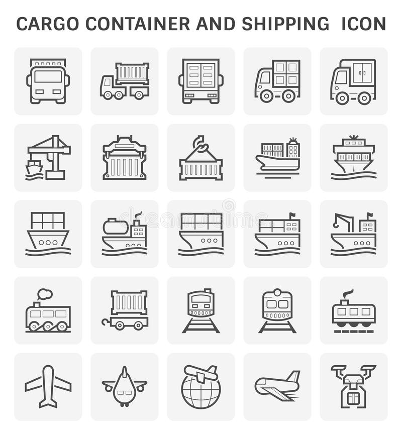 Cargo container icon. Cargo container and shipping transportation icon set design vector illustration