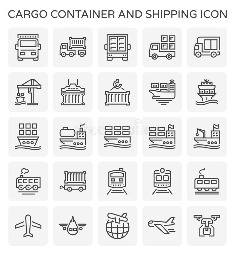 Cargo container icon. Cargo container and shipping transportation icon set for shipping graphic design element vector illustration