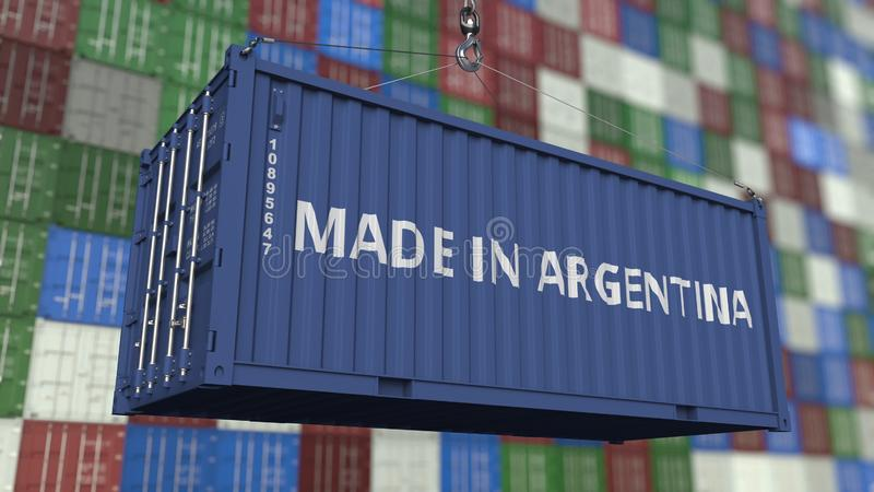 Cargo container with MADE IN ARGENTINA caption. Argentinean import or export related 3D rendering. Cargo container with MADE IN ARGENTINA caption. Argentinean stock illustration
