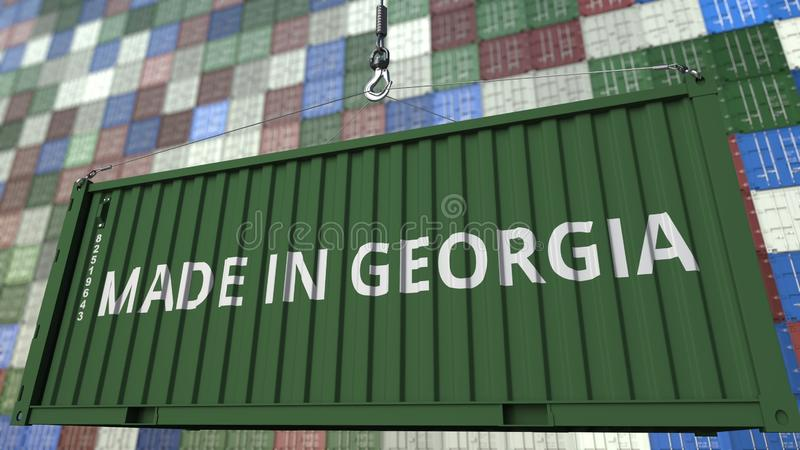 Cargo container with MADE IN GEORGIA caption. Georgian import or export related 3D rendering. Cargo container with MADE IN GEORGIA caption. Georgian import or royalty free illustration