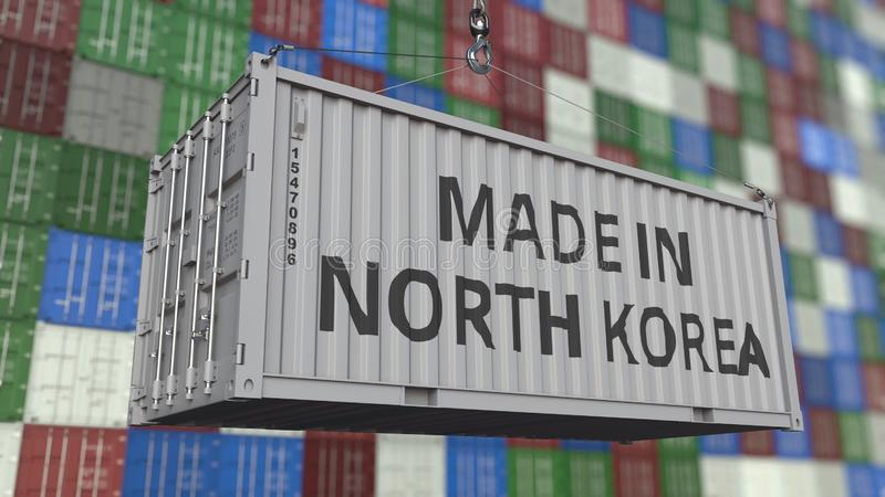 Cargo container with MADE IN NORTH KOREA caption. Korean import or export related 3D rendering. Cargo container with MADE IN NORTH KOREA caption. Korean import royalty free illustration