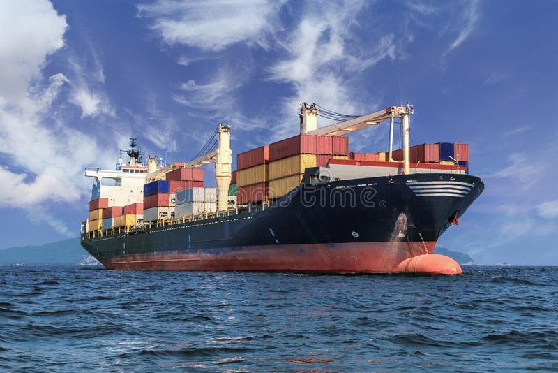 Cargo container ship in the ocean, Freight Transportation stock photography