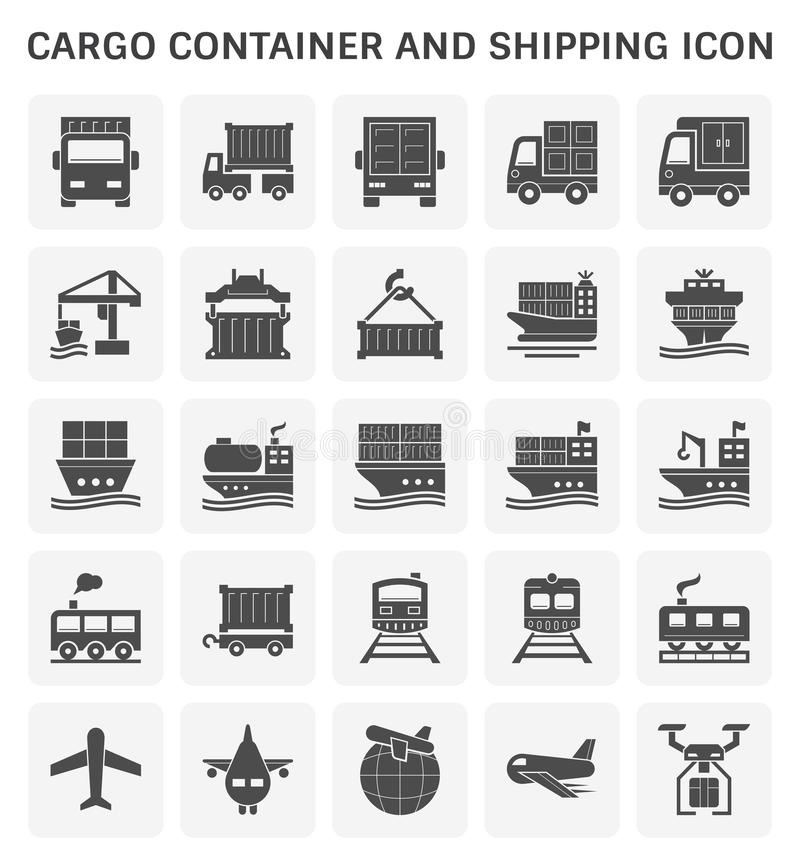Cargo container icon. Cargo container and shipping transportation vector icon set design for shipping industrial concept deesign stock illustration