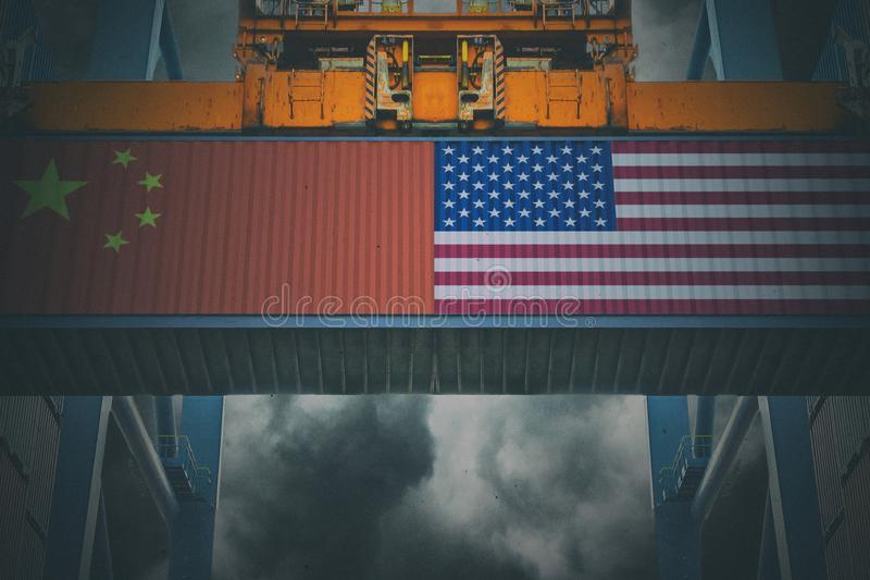 Trade War Concept. Cargo containers with Chinese and United States flag. Trade War Concept royalty free stock image