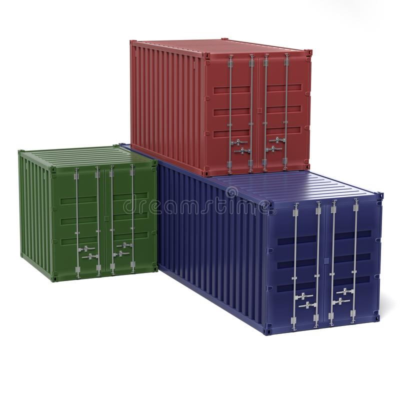 Cargo containers. 3d rendering of cargo containers stock illustration