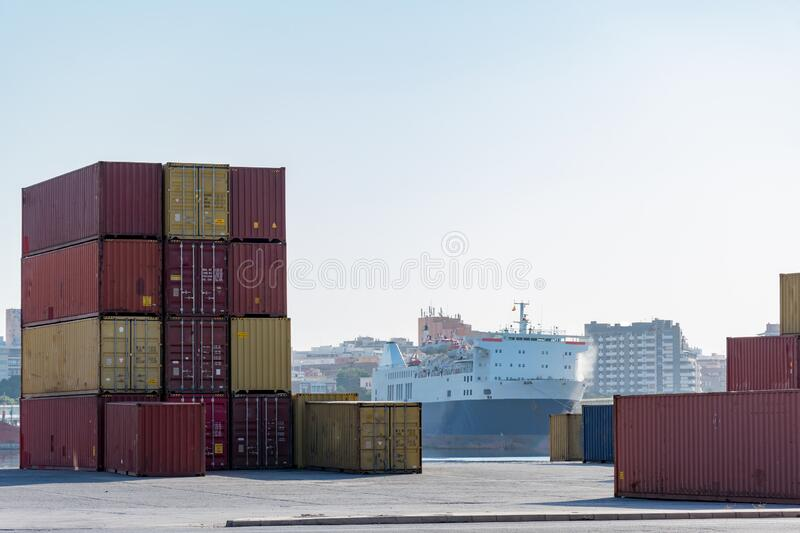 Cargo containers. For export and import in maritime terminal royalty free stock photos