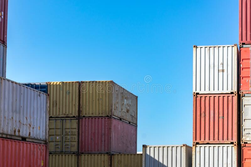 Cargo containers. For export and import in maritime terminal stock photos