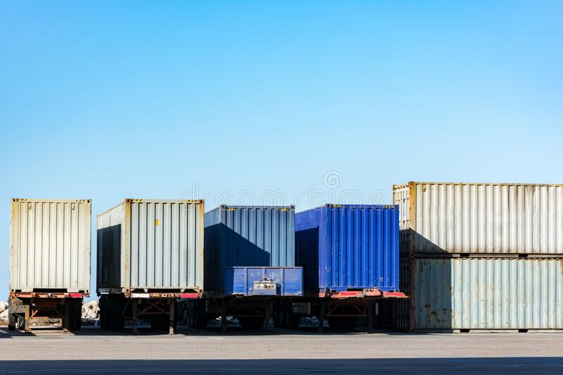 Cargo containers. For export and import in maritime terminal royalty free stock image