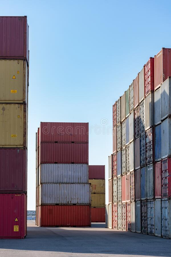 Cargo containers. For export and import in maritime terminal royalty free stock photography