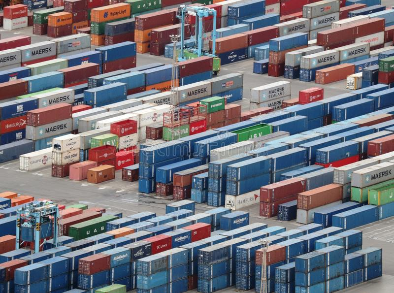 Cargo containers with goods in the port of Barcelona are waiting for shipment royalty free stock photography