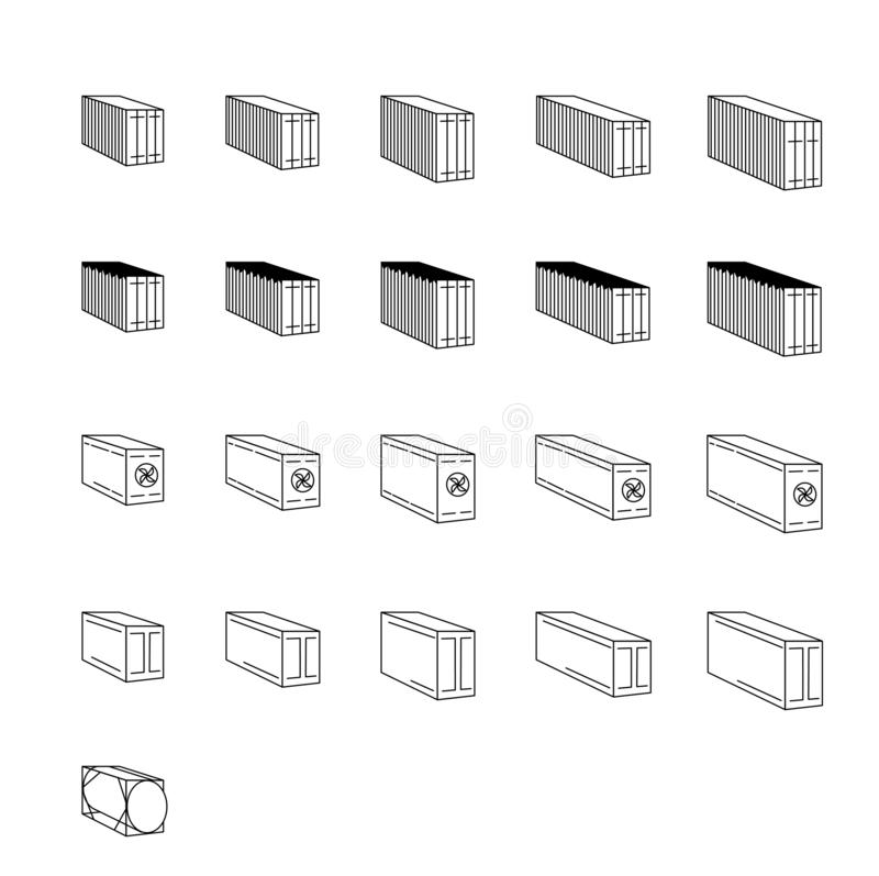 Cargo containers - icon outline set, export, shipping and logistics lineal Set  cargo, Shipping.Isolated vector illustration. royalty free illustration