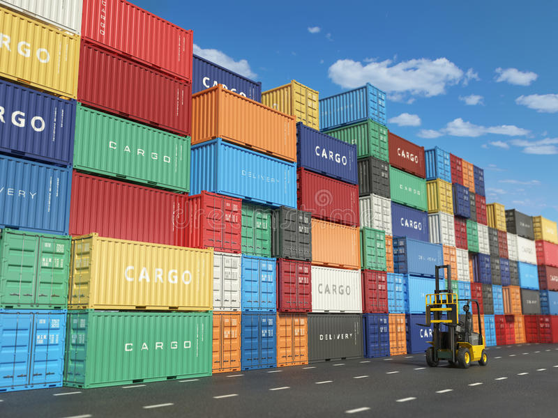 Cargo containers in shipping yard and forklift. Delivery shipping logistic import export industrial concept. 3d illustration stock illustration