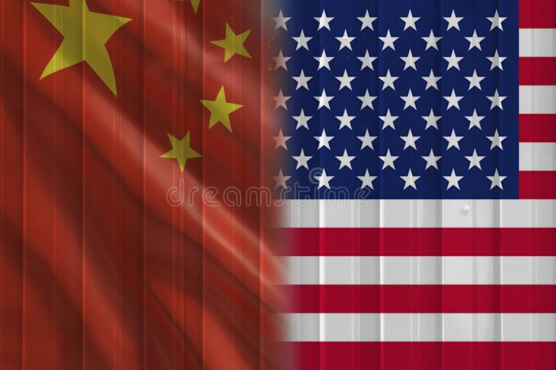 Cargo containers surface  with Chinese and United States flag. Trade war concept royalty free stock photos